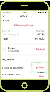 No resumo da sacola, na área PAGAMENTO, toque em ESCOLHER para cadastrar seu cartão Alelo. Se já tiver outro cartão cadastrado no app, <br> toque em TROCAR.