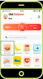 No aplicativo da Rappi, <br>selecione RESTAURANTES<br> na página inicial.